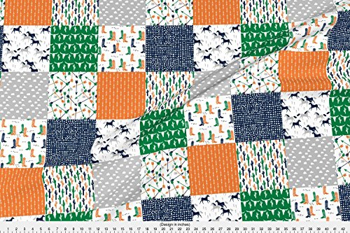 Spoonflower Cheater Quilt Fabric Boys Cheater Quilt//Green Orange Navy Cactus Arrows Horse Western Kids by Andrea Lauren Printed on Organic Cotton Sateen Ultra Fabric by the Yard ()