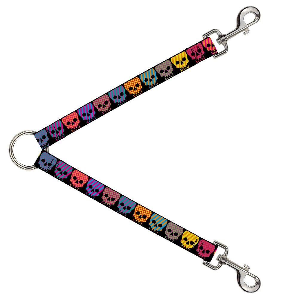 Buckle-Down DLS-W30376-W Checker & Stripe Skulls Black Multi Neon Leash Splitter, 1.5  Wide 30  Length