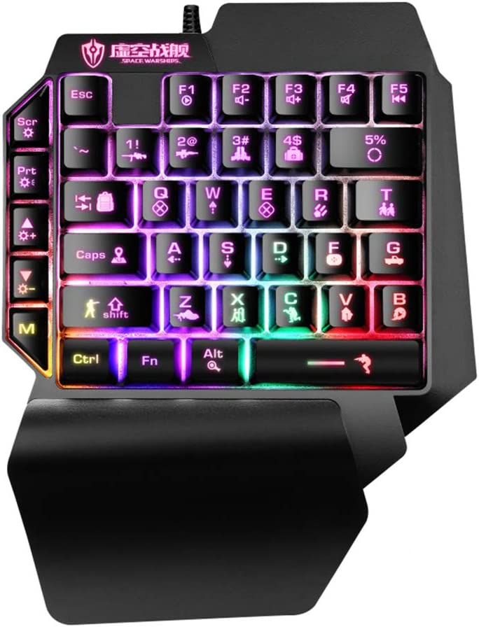 Honorall Illuminated Keyboard 39 Keys Gaming Keyboard USB Powered Operated Diverse Lighting Effect for Computer Laptop E-Sports Portable