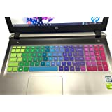 "CaseBuy Colorful Silicon Keyboard Cover for 15.6"" HP 15-ab 15-ac 15-ae 15-af 15-an 15-ak 15-ay 15-ax 15-as 15-ba 15-bc 15-bk Series US Layout - Compatible Model in the Product Description(Rainbow)"