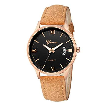 naivety Fashion Roman Numerals Women Watches Delicate Ladies Date Rose Gold Leather Quartz Wrist Watch Gift