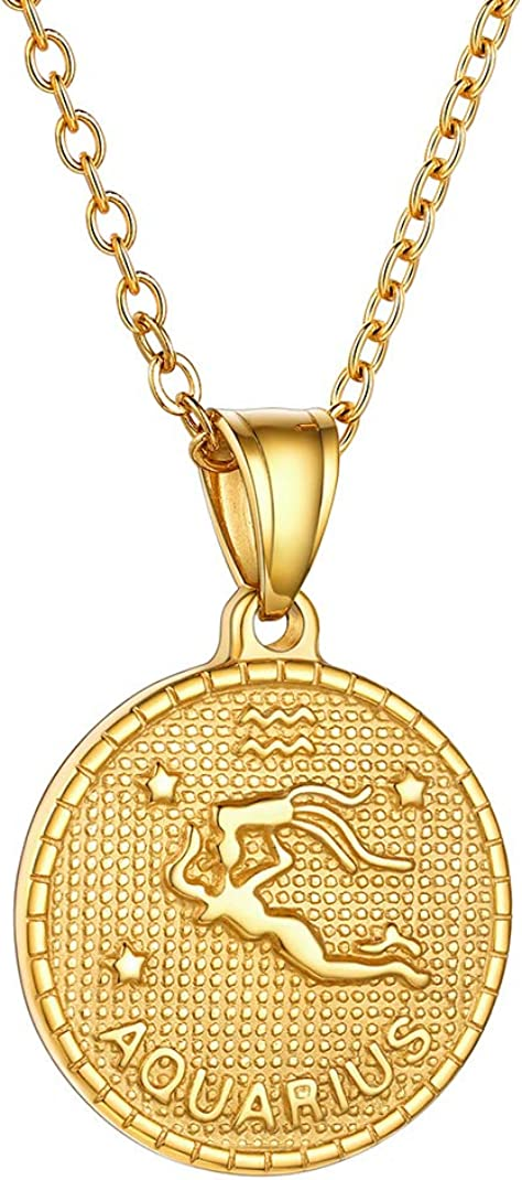GoldChic Jewelry Personalized Zodiac Coin Necklace, Coin Necklace, Horoscope Necklace, Astrology Necklace, Gold Medallion Zodiac Necklace-Offer Custom Engrave Service