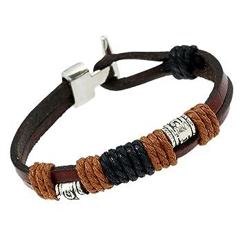 b9fe8fc7eca2 Kanggest pulsera brazalete Wrap trenzado hebilla de aleación de piel de  vaca auténtica hecho a mano pulsera cuerda de mano joyas regalo para hombres   ...
