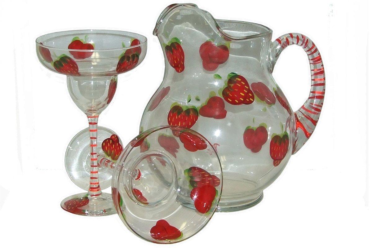 Strawberry Design 3-Piece Margarita Set. Hand Painted.
