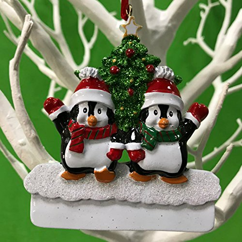 ents,Penguin Family with Christmas Tree Decoration Personalize Christmas Ornament,Free Pen with Gifts Box Provided, Made of Resin (Penguin Christmas Tree Ornament)