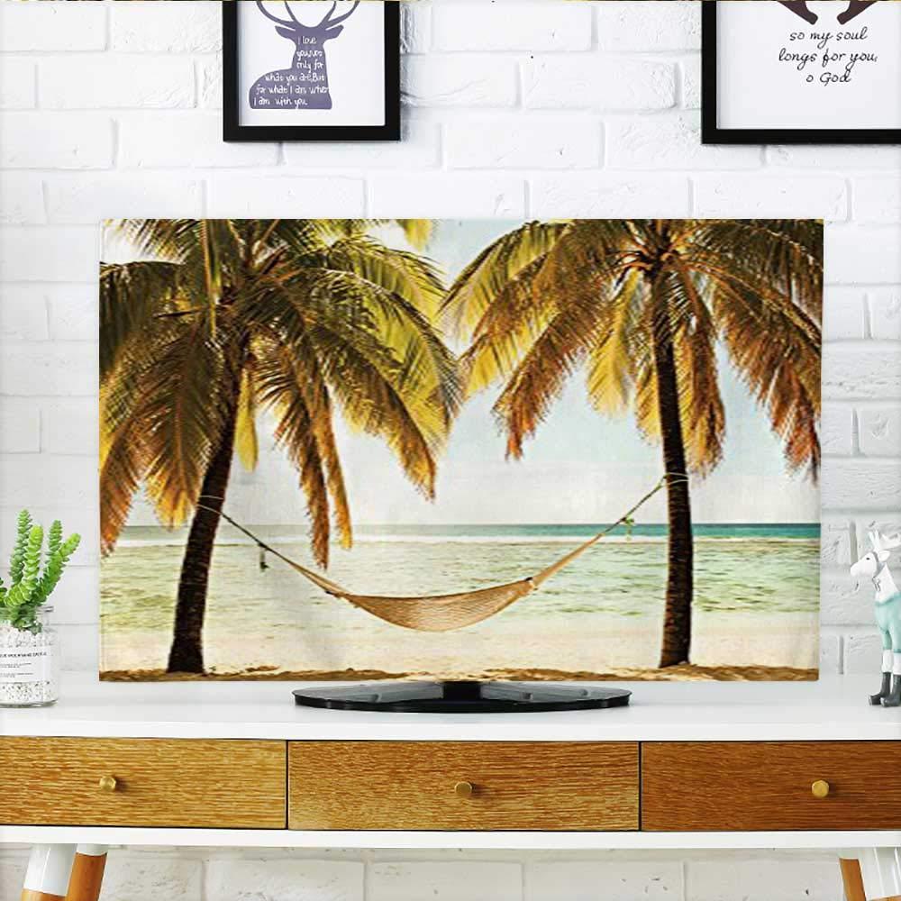 Auraisehome テレビを保護 ストライプ柄 海洋波模様 円形丸みを帯びた波模様 渦巻き スカイブルー ホワイト テレビを保護 幅19 x 高さ30インチ / テレビ 32インチ W35 x H55 INCH/TV 60