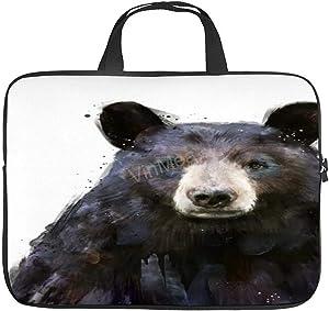 Laptop Shoulder Bag, Funny Poster Pictures Black-Bear-Amy-Hamilton Waterproof Laptop Bag Computer Bag for Men Women School Work 15 Inch