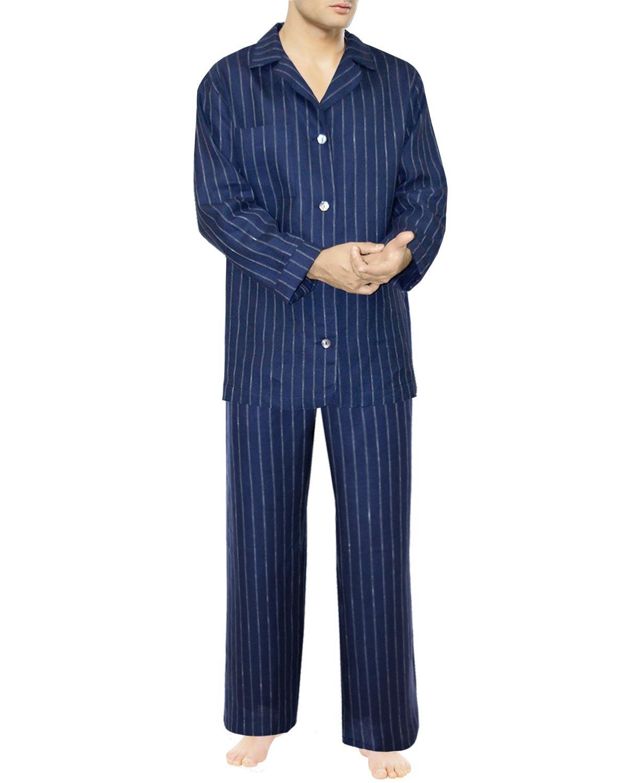 Alfi collection, Linen Pajama Set, Size Large, Blue-Pinstriped White