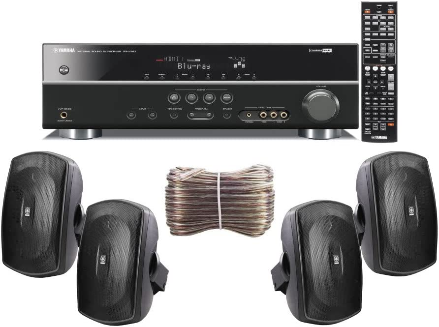 Yamaha 3D-Ready 5.1-Channel 500 Watts Digital Home Theater Audio/Video Receiver + Set of 4 Yamaha All Weather Indoor/Outdoor 130 watt Wall Mountable Natural Sound 2-Way Acoustic Suspension Speakers