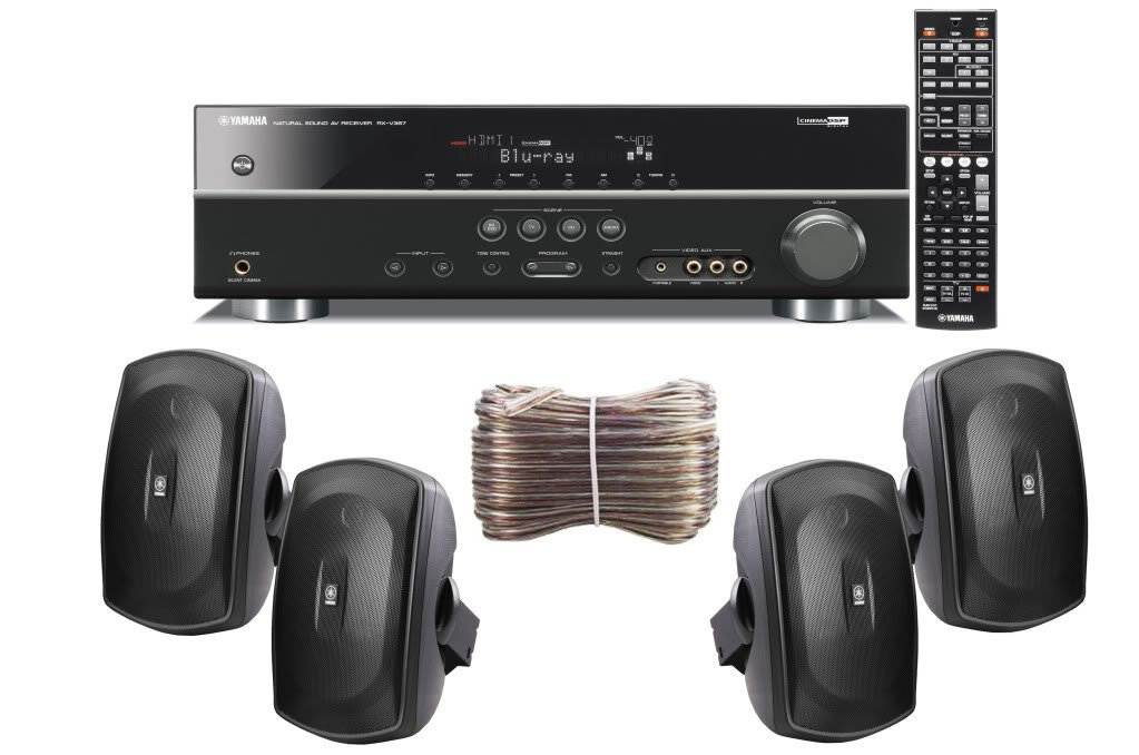 Yamaha 3D-Ready 5.1-Channel 500 Watts Digital Home Theater Audio/Video Receiver With a USB Digital Input and Connecting Cable to Play & Charge Your iPod or iPhone & Control Remotely + Set of 4 Yamaha All Weather Indoor / Outdoor 130 watt Wall Mountable Na by Yamaha