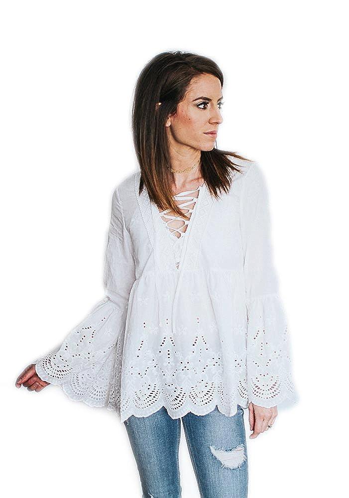 c6c4cc205dab1e White Eyelet Bell Sleeve Blouse at Amazon Women's Clothing store: