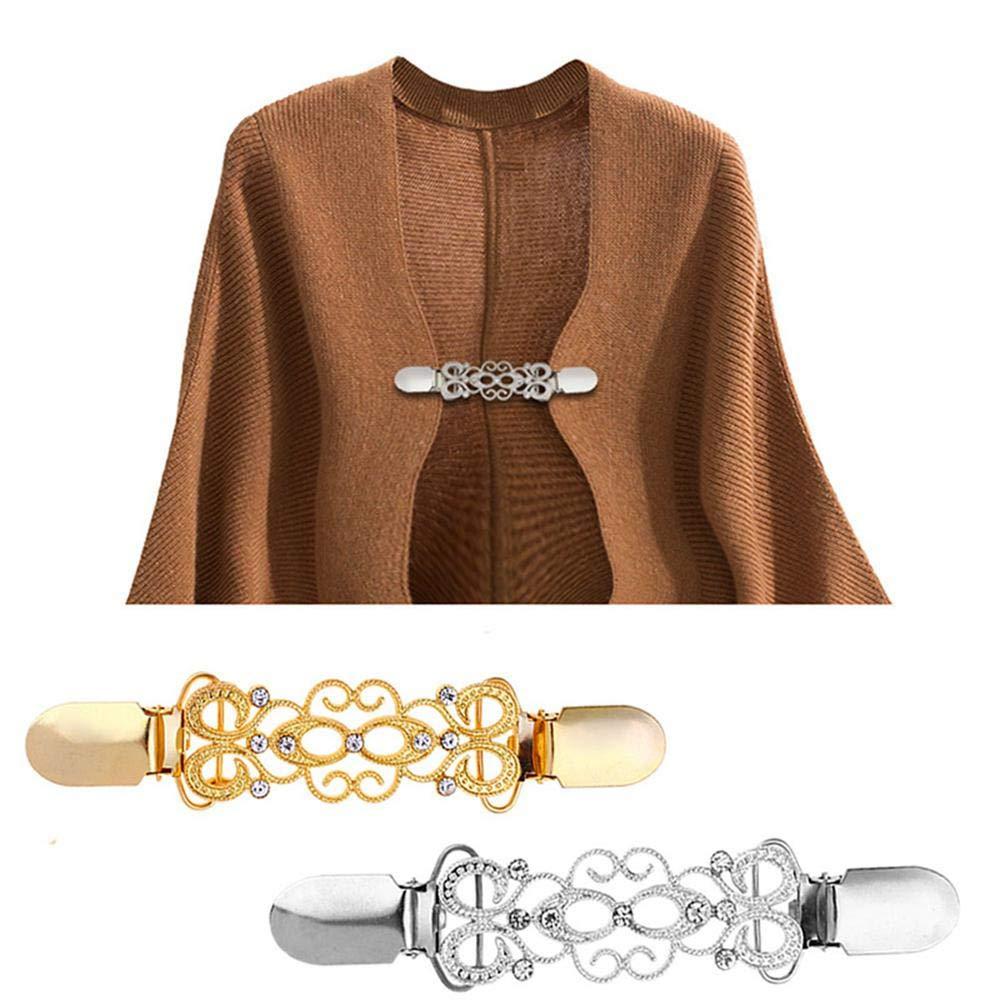 2 ST/ÜCKE Zinklegierung Retro Strickjacke Kragen Clip Pullover Kragen Clip Brosche Schal Clips