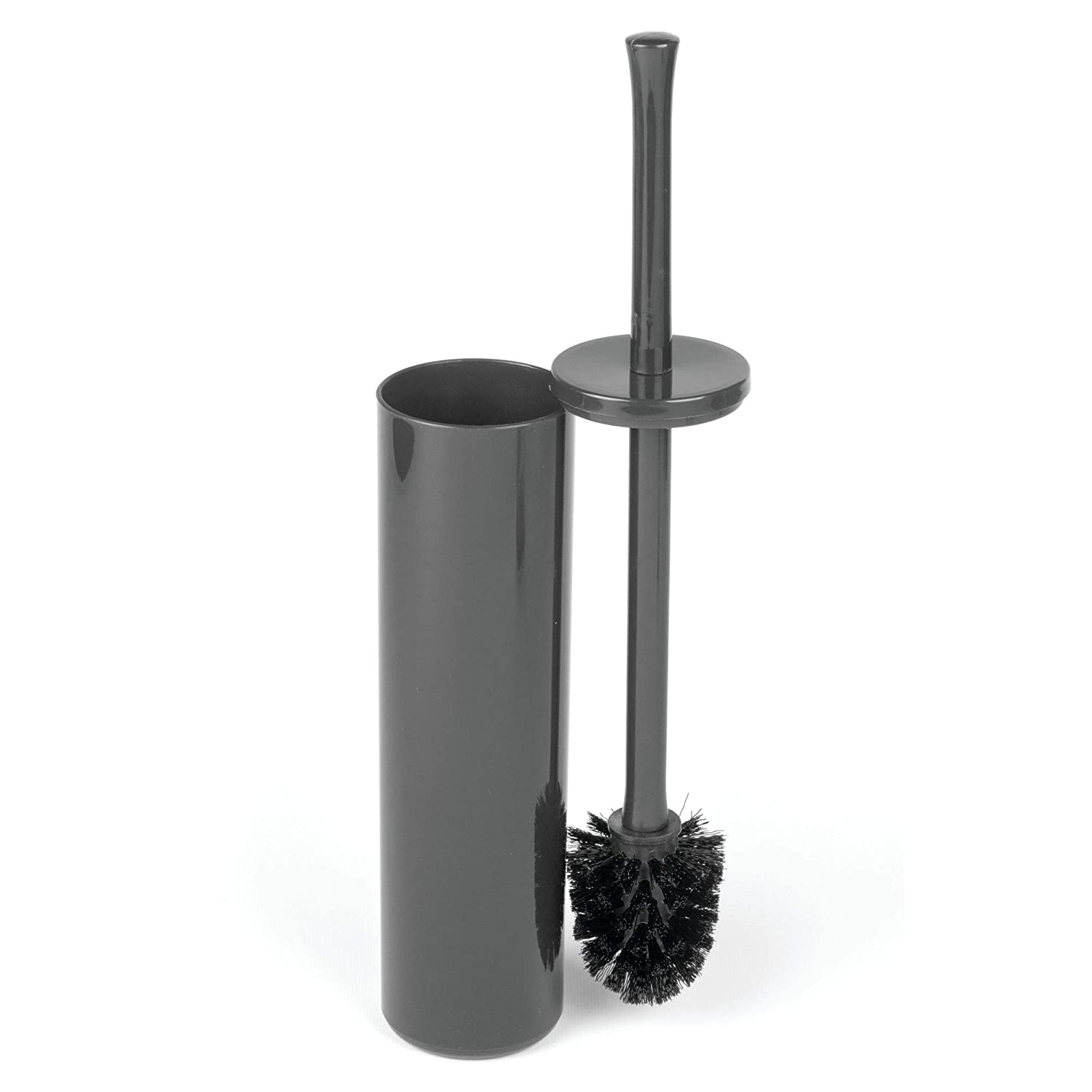 2 Pack Sturdy Covered Brush Modern mDesign Extra Slim Compact Freestanding Plastic Toilet Bowl Brush and Holder for Bathroom Storage and Organization Space Saving Deep Cleaning Charcoal Gray MetroDecor 8646MDBSTEU