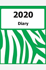 "2020 Diary: Large Print, (Green Zebra Pattern Cover) - 8"" x 10"" - Months, Important Dates, Weekly Planner - Simple layout. Large Print. Easy to use for visually impaired Paperback"