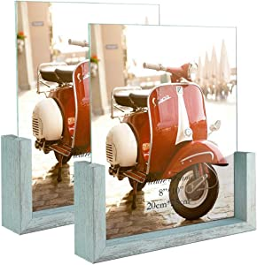 HORLIMER 8x10 Picture Frames Set of 2, Rustic Photo Frame with Wooden Base and Tempered Glass for Tabletop