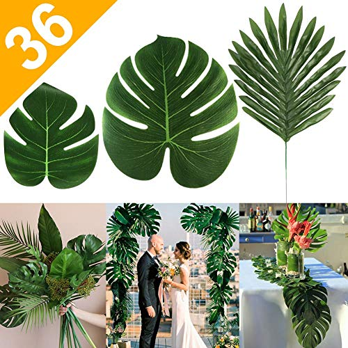 AerWo 36pcs 3 Kinds Artificial Tropical Palm Leaves Safari Leaves Large Green Faux Monstera Leaves for Hawaiian Luau Party Supplies, Aloha Jungle Beach Birthday Leave Table Decorations ()