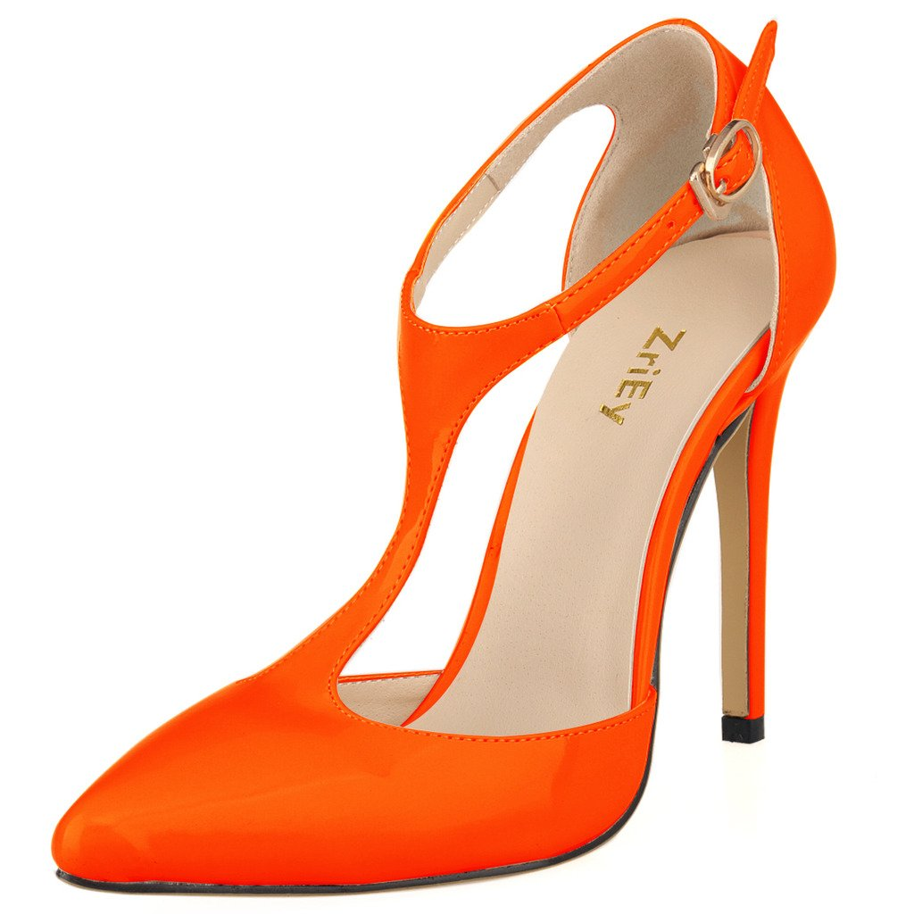 ZriEy Ladies Women's Pumps High Heel Pointed Toe Ankle T-Strap Sexy Shoes for Noble Business Community Wedding Party Dress Orange Size 7.5