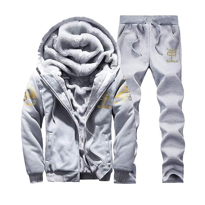 20adb64377 SOLELING Uomo Felpa con Cappuccio per Inverno Calda Giacca in Pile Zip E  Cerniera Capispalla Outwear Set di Pantaloni Tops Tute Sportive Casual ...
