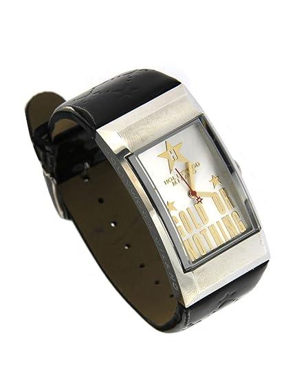 Hollywood Milano Reloj para mujer de acero con caja rectangular, correa de piel brillante negro