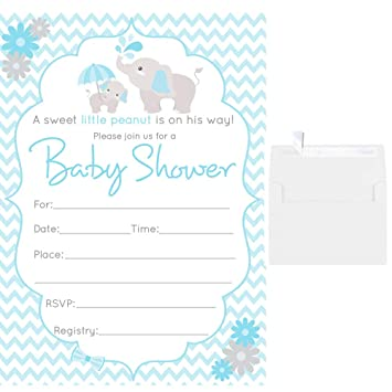 Amazon Com 50 Fill In Blank Baby Shower Invitations Blue Boy