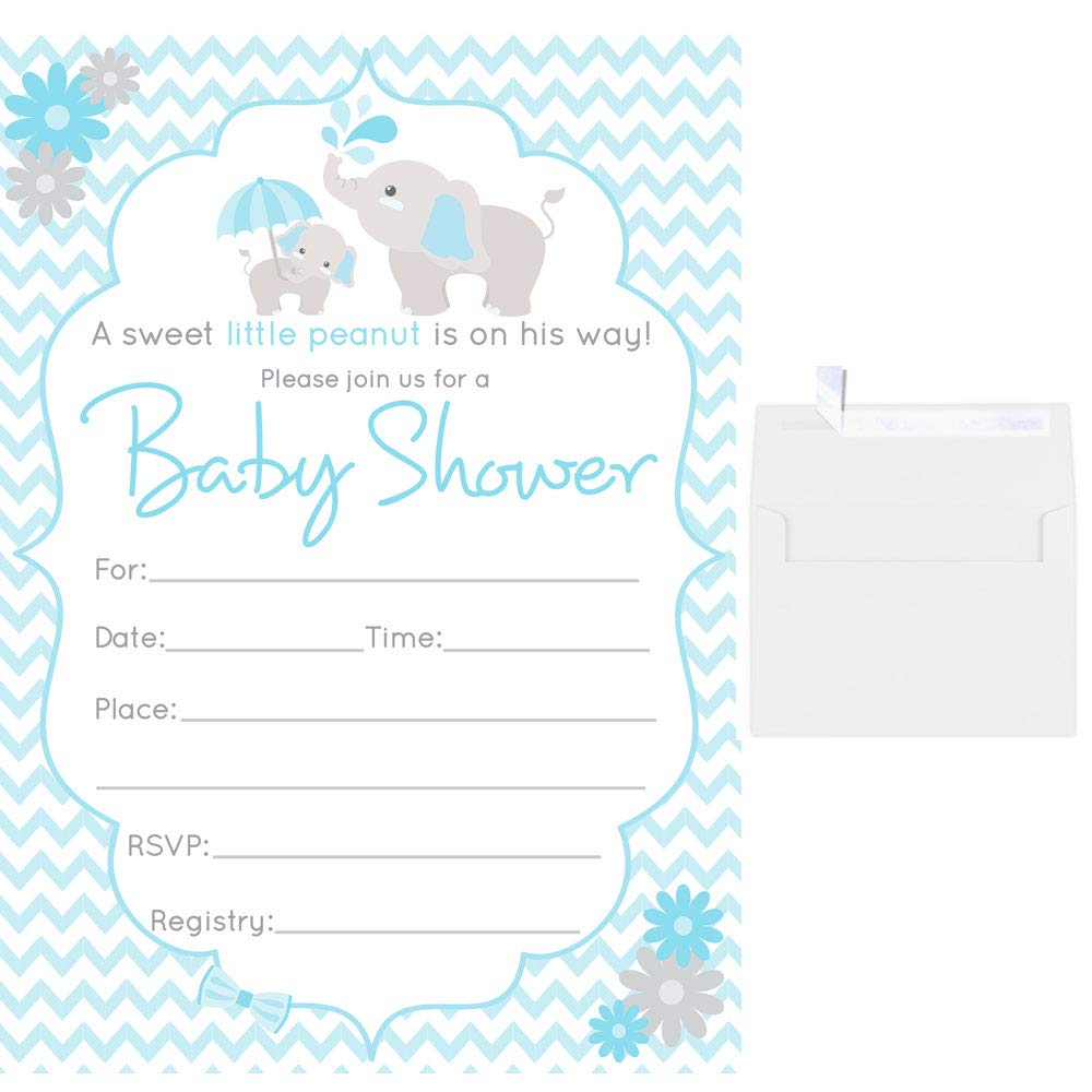 50 Fill in Blank Baby Shower Invitations Blue Boy Elephant with White Envelopes