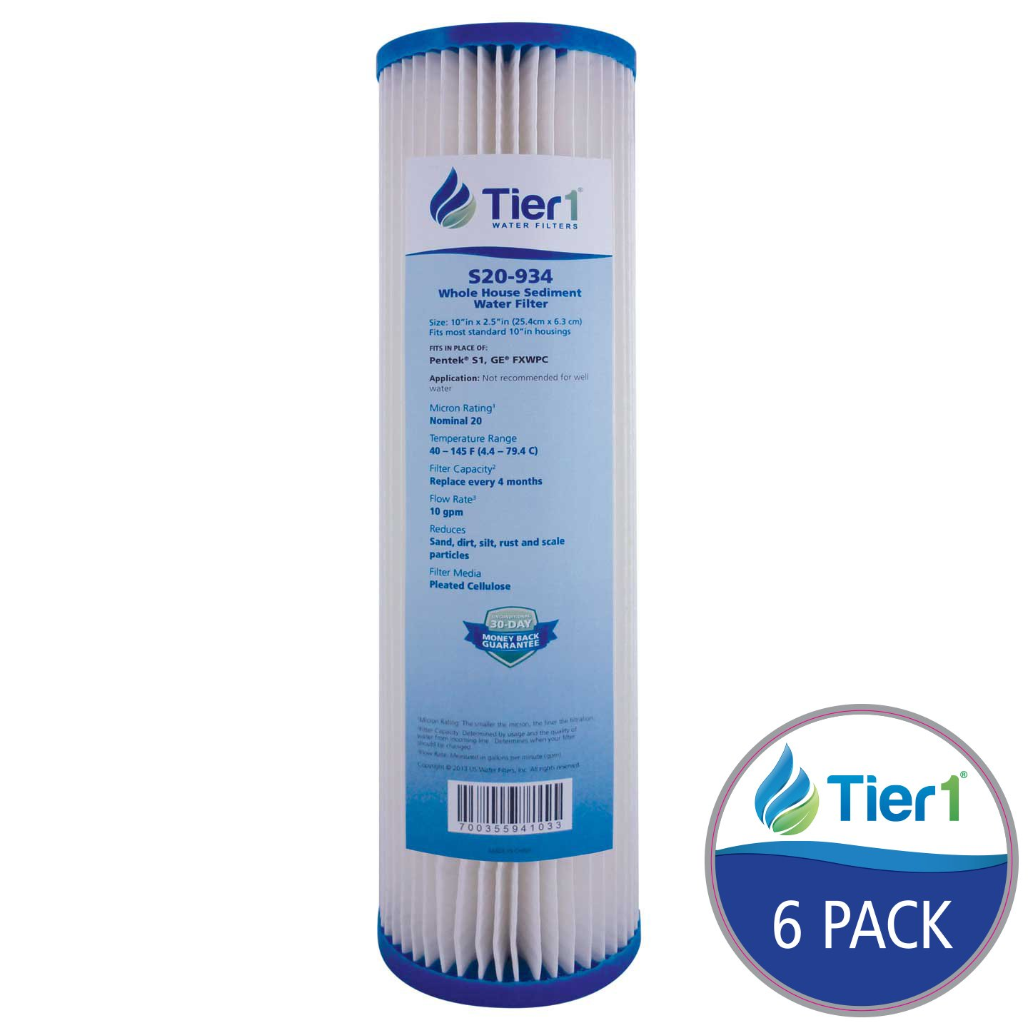 Tier1 Replacement for Pentek S1 20 Micron 10 x 2.5 Pleated Cellulose Sediment Water Filter 6 Pack - Not for Well Water