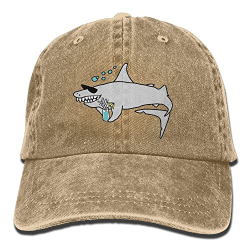 MingDe YY Happy Shark Wearing Sunglasses And Holding Vintage Trucker Hat Washed Denim Adult Cowboy Hat Baseball - Wholesale New York Sunglasses