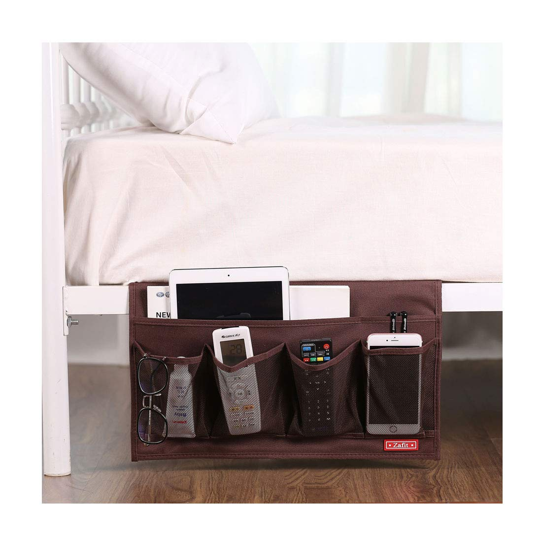 Zafit 6 Pockets Bedside Storage Organizer, Table cabinet Storage Organizer Bedside Organizer Caddy for Remotes Phone Glasses (Coffee)