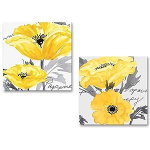 Gray Yellow Flower Floral Canvas Wall Art Modern Prints