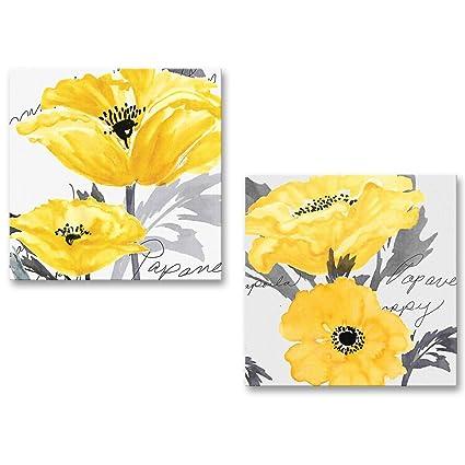 a88b9b390f8 Amazon.com  Gray Yellow Flower Floral Canvas Wall Art Modern Prints   Posters   Prints