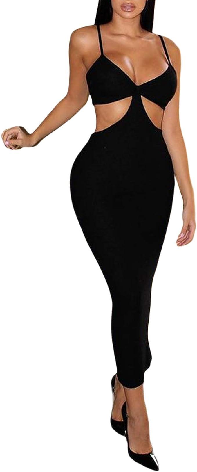 New Women Dress Cutout Deep V Neck Midi Sexy Club Dress