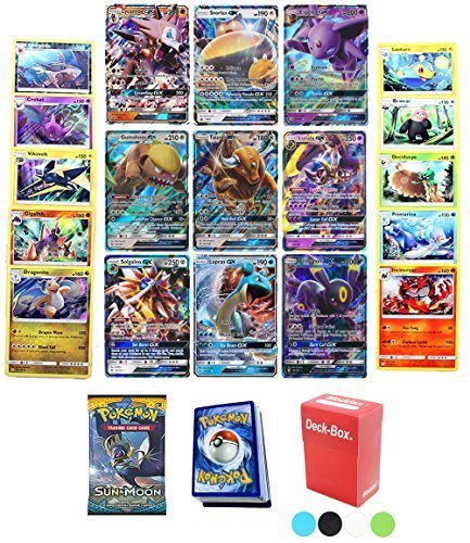Pokemon TCG Guaranteed GX - Sun & Moon Booster Pack - 30 Card Elite Trainer Kit Lot Free Deck Box - Holo Foil Rare Common Uncommon Random Bonus