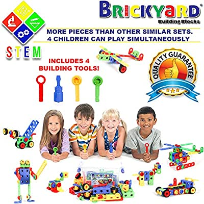 101 Piece STEM Toys Kit, Educational Construction Engineering Building Blocks Learning Set for Ages 3 4 5 6 7 8 9 10 Year Old Boys & Girls by Brickyard, Best Kids Toy, Creative Games & Fun Activity: Toys & Games