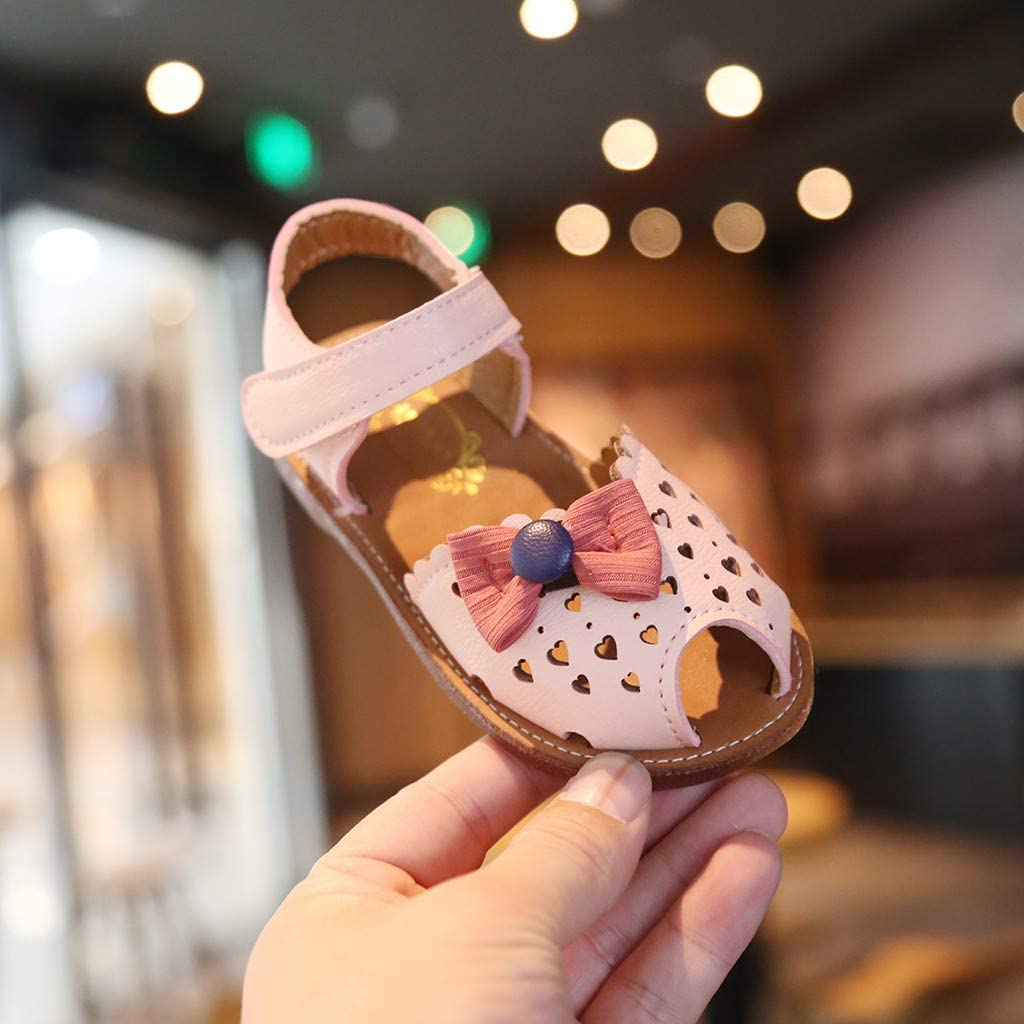 ❤️Rolayllove❤️ Infant Baby Toddler Boy Girls Bow Knot Sandals First Walker Shoes Heart-Shaped Hollow Out Soft Shoes Sandals