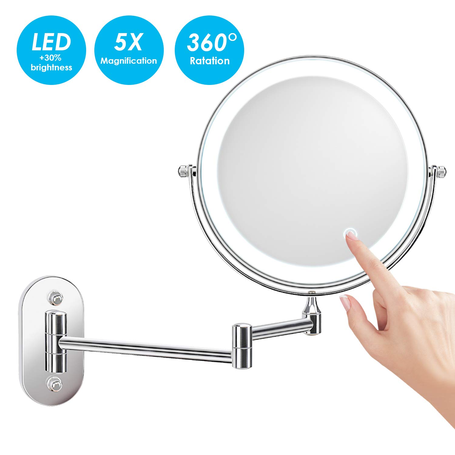 alvorog Wall Mounted Makeup Mirror 8 inches LED Touch Screen Adjustable Light Double Sided 1X 5X Magnifying Vanity Mirror Swivel Extendable for Bathroom Hotels Powered by Batteries Not Included