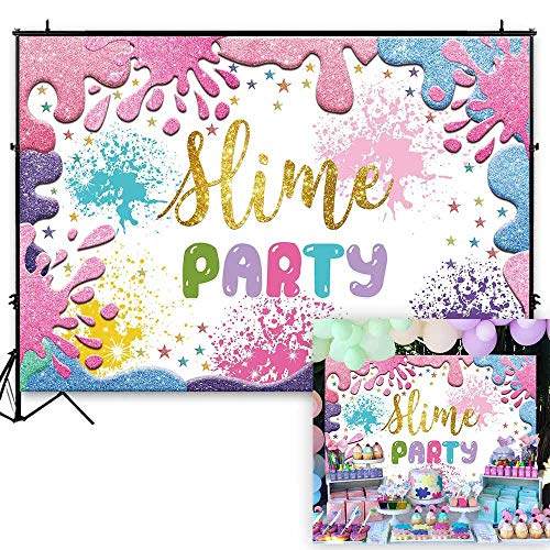 Funnytree 7x5ft Slime Theme Party Backdrop Glitter Colorful Splatter Girl Baby Shower Birthday Photography Background Summer Graffiti Painting Banner Cake Table Decorations Photo Booth Props]()