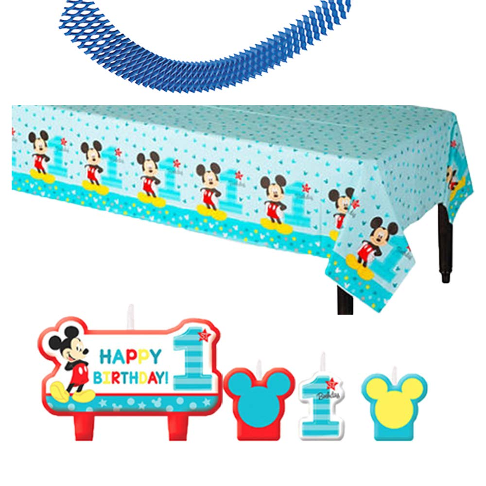 Tablecover Birthday Banners Bib Mickey Hat and Exclusive Pin Balloons Another Dream High Chair Kit Cups Napkin Mickey Mouse Fun To Be One MEGA First Birthday Party Supplies Pack For 16 Guests With Plates