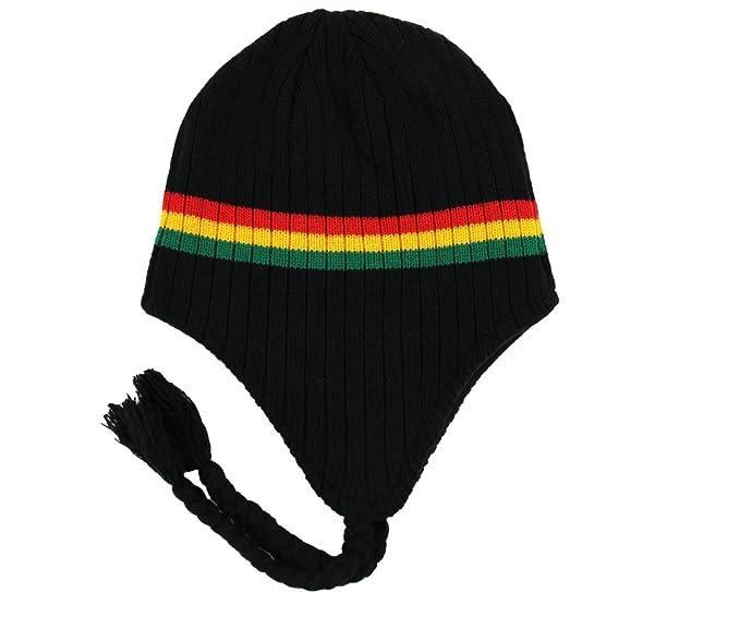 4db9b383640 RW Rasta Ribbed Ear Flap Beanie Hat (Black Rasta) at Amazon Men s Clothing  store