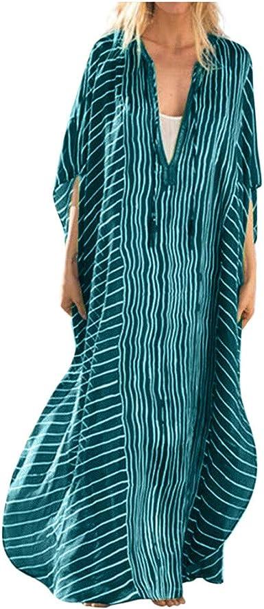 Poachers Vestidos Otono Mujer Tallas Grandes Vestidos De Fiesta Mujer Largos Para Boda Vestidos Playeros Mujer Talla Grande Vestido De Playa A Media Pierna De Rayas Sueltas Con Cuello En V Amazon Es