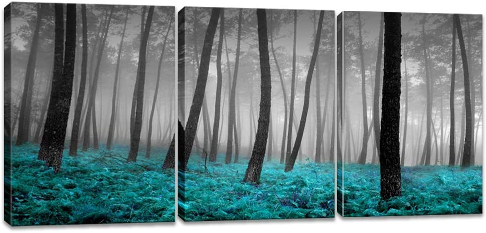 iKNOW FOTO 3 Pieces Canvas Wall Art Forest Mist with Teal Trees Black and White Woods Scenery Painting Long Canvas Artwork Contemporary Nature Picture for Home Office Wall Decor 12x16inchx3pcs