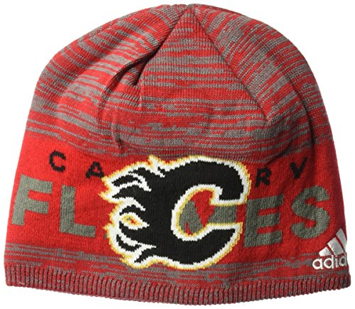 fan products of NHL Calgary Flames Adult Men Pro Authentic Cuffed Beanie with Chrome Shield, One Size, Red