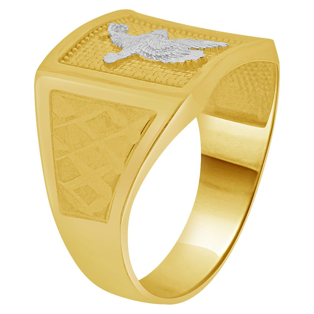 Gent Men Man Guy Square Shape Eagle Ring 14k Yellow Gold White Rhodium