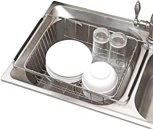 """Usmascot Over Sink Dish Drainer Drying Rack, Stainless Steel Dish Drying Basket, Adjustable Over Sink or In Sink Dishes Holder, 12.99""""(L) x 9.84""""(W) x 4.53""""""""(H) Kitchen Storage Dish Racks (Metal)"""