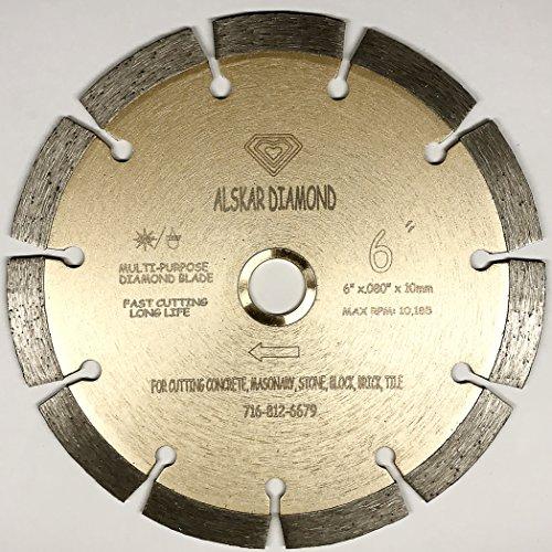 (ALSKAR DIAMOND ADLSS 6 inch Dry or Wet Cutting General Purpose Power Saw Segmented Diamond Blades for Concrete Stone Brick Masonry (6