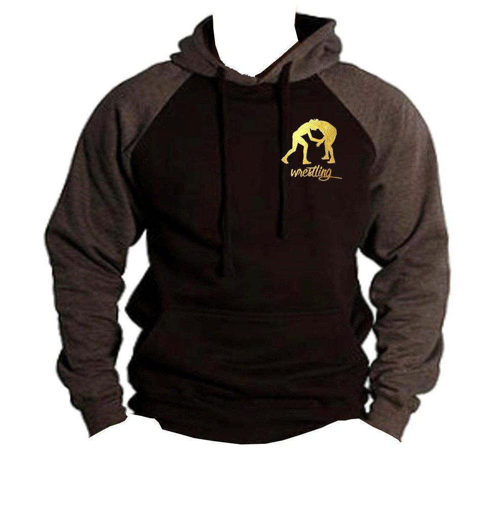 Interstate Apparel Men's Gold Foil Wrestling Emblem Black/Charcoal Raglan Baseball Hoodie Sweater X-Large Black
