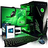 "Vibox Apache Package 9 Gaming PC - with Warthunder Game Bundle, Windows 10, 21.5"" HD Monitor, Gamer Headset, Keyboard & Mouse Set (4.1GHz AMD FX Six Core Processor, Nvidia Geforce GTX 960 Graphics Card, 1TB Hard Drive, 16GB RAM, Vibox Predator Green LED Case)"