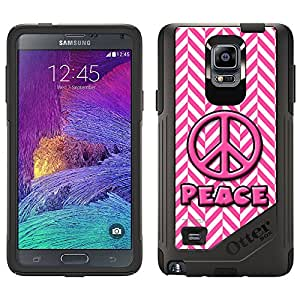 Skin Decal for OtterBox Commuter Samsung Galaxy Note 4 Case - Peace on Chevron Mini Pink White