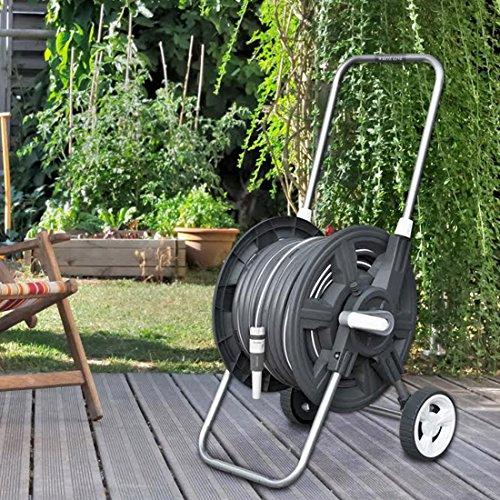WHITE-SILVER-8-tlg-Schlauchwagen-Set-Gartenschlauch-30m-12-Gartenbrause-Rasensprenger-Schlauchkupplung
