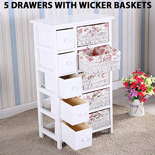 Durable Dresser Storage Tower | 5 Drawers with Wicker Baskets - Sturdy Frame, Wood Top, Easy Pulling - Organizer Unit for Bedroom, Hallway, Entryway, Closet (White)