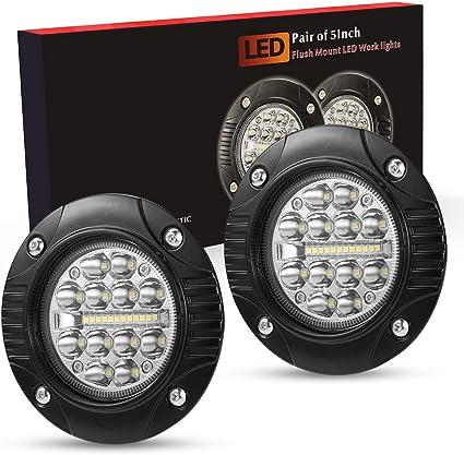 2X 24W LED Work Light Flood Beam Offroad Driving ATV SUV Flush Mount Truck 5Inch